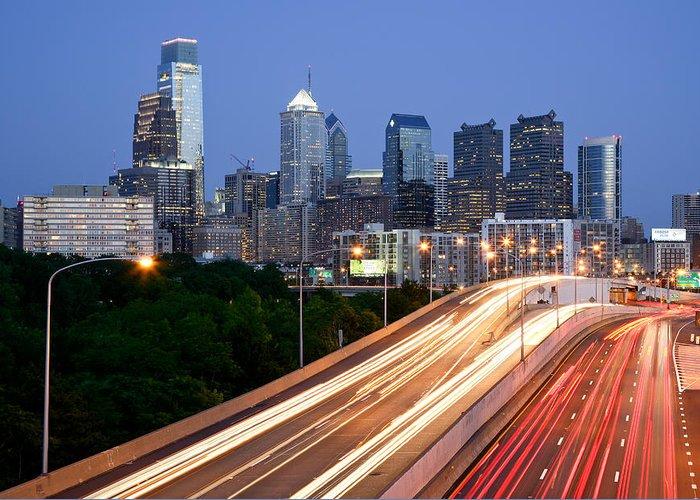 Philadelphia Skyline Greeting Card featuring the photograph Philadelphia Skyline Night by Binh Ly