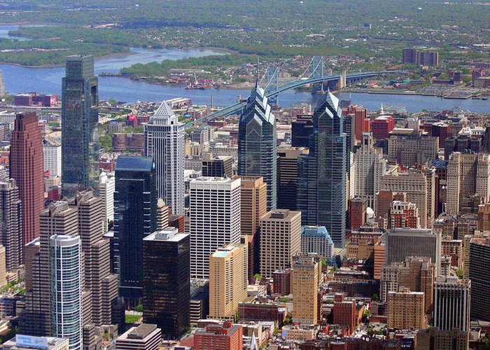 Philadelphia Greeting Card featuring the photograph Philadelphia Skyscrapers by Duncan Pearson