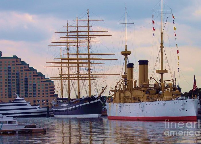 Philadelphia Greeting Card featuring the photograph Philadelphia Waterfront Olympia by Debbi Granruth