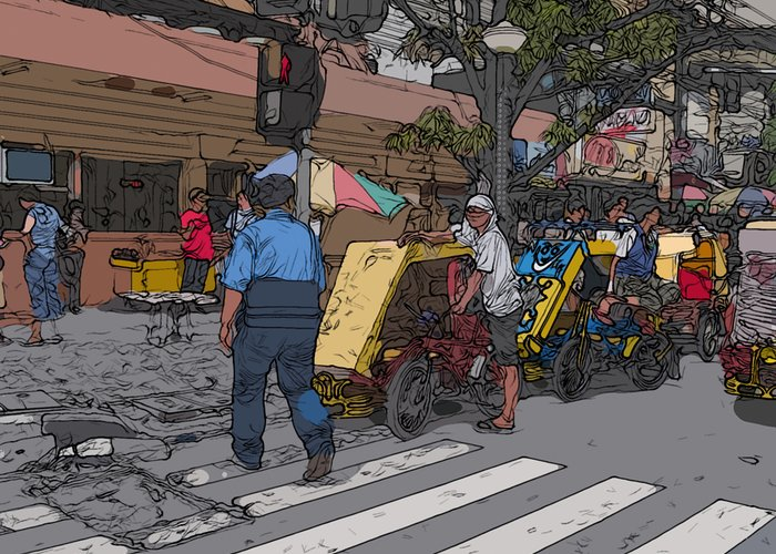 Philippines Greeting Card featuring the painting Philippines 906 Crosswalk by Rolf Bertram