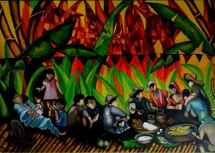 Philippines fiesta greeting card for sale by glory fraulein wolfe bamboo greeting card featuring the painting philippines fiesta by glory fraulein wolfe m4hsunfo