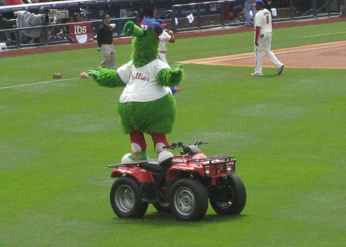 Phillis Greeting Card featuring the photograph Phillie Phanatic by Jennifer Sweet