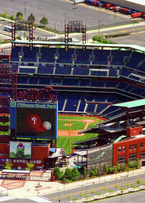 Aerial Photograph Greeting Card featuring the photograph Phillies Citizens Bank Park Philadelphia by Duncan Pearson