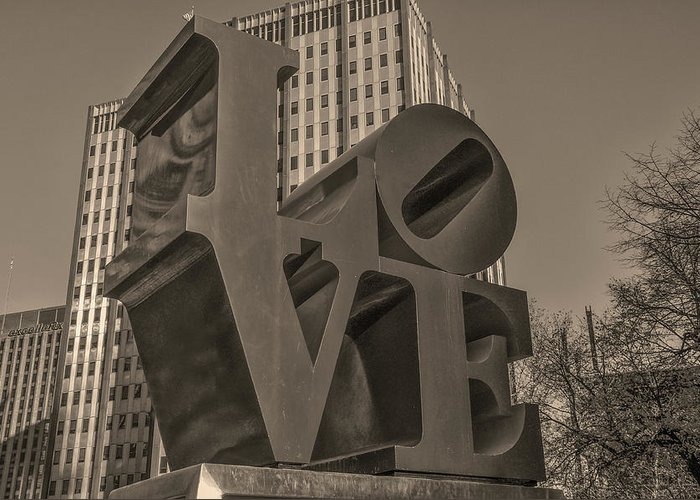 Philly Greeting Card featuring the photograph Philly Esque - Love Statue In Sepia by Bill Cannon