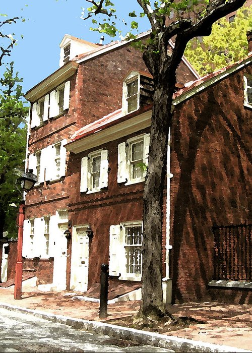 Philadelphia Greeting Card featuring the mixed media Philly Row House 2 by Paul Barlo