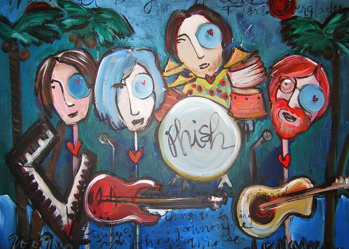 Phish Greeting Card featuring the painting Phish At Big Cypress by Laurie Maves ART