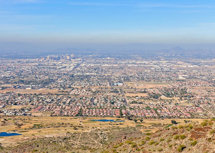Arizona Greeting Card featuring the photograph Phoenix From South Mountain by Tom Dowd