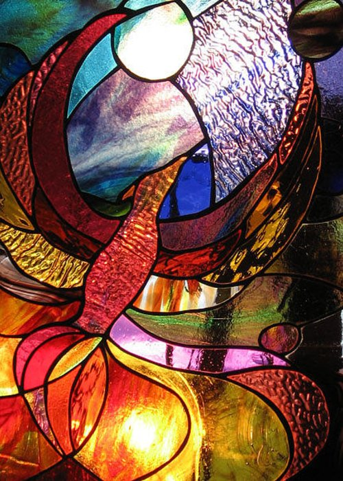 Stained Glass Phoenix Bird Abstract Colorful Funky Colored Moon Fire Greeting Cards
