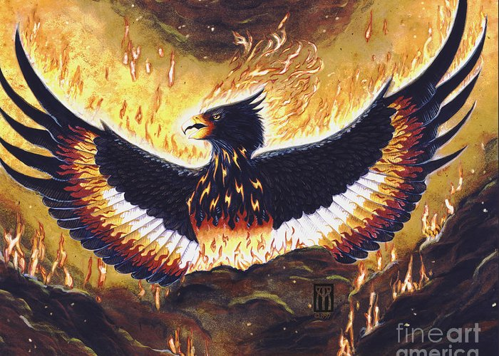 Phoenix Greeting Card featuring the painting Phoenix Rising by Melissa A Benson