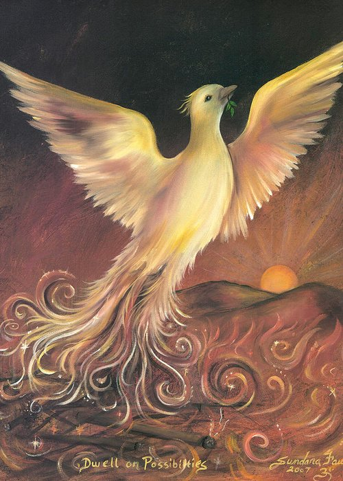Phoenix Greeting Card featuring the painting Phoenix Rising by Sundara Fawn