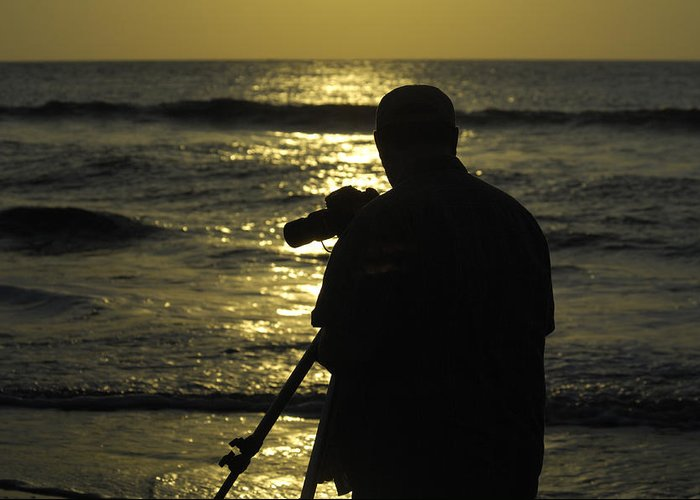 Sunrise Greeting Card featuring the photograph Photographer And Atlantic Ocean Sunrise by Darrell Young