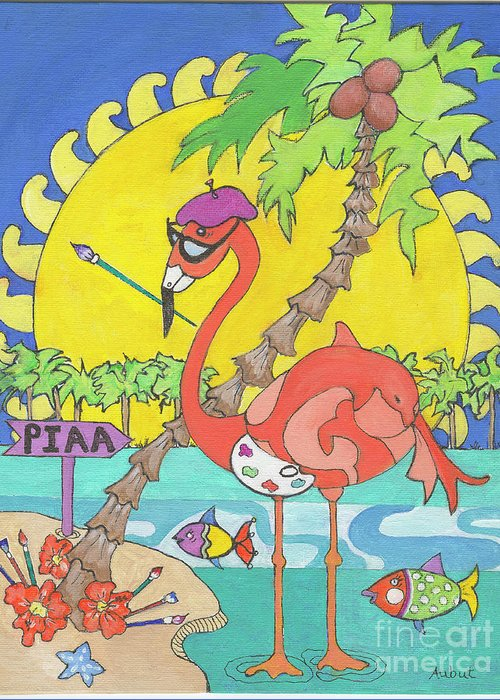 Whimsical Greeting Card featuring the painting Pia The Flamboyant Flamingo by Rosemary Aubut