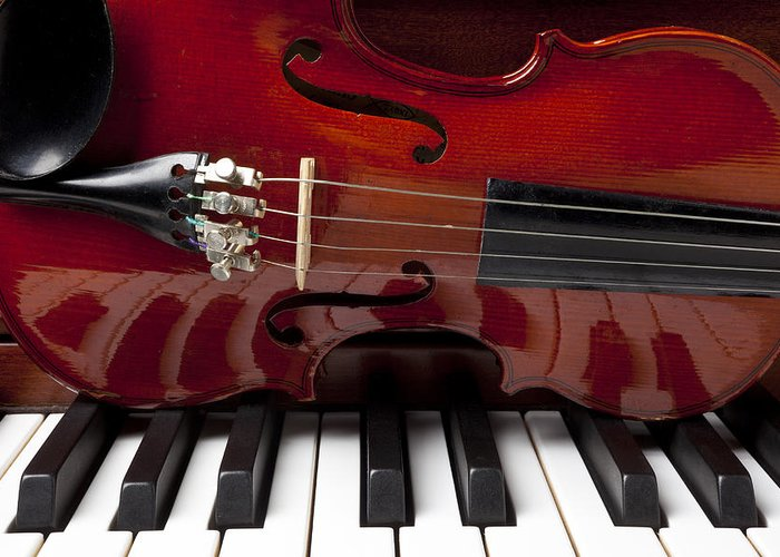 Violin Greeting Card featuring the photograph Piano Reflections by Garry Gay
