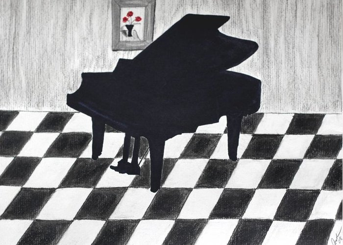 Music Piano Tiles Checkers Black White Greeting Card featuring the drawing Piano Room by Cathy Jourdan