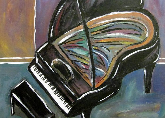 Impressionist Greeting Card featuring the painting Piano With High Heel by Anita Burgermeister