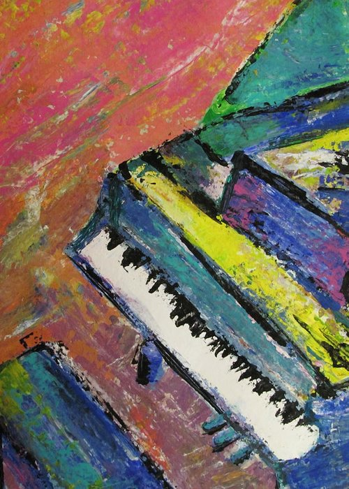 Music Greeting Card featuring the painting Piano With Yellow by Anita Burgermeister