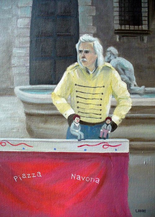 Italy Greeting Card featuring the painting Piazza Puppeteer by Joe Lanni