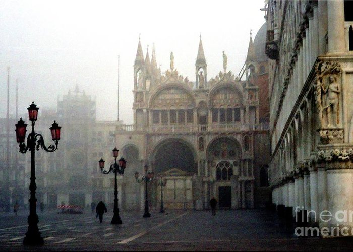 Venice Greeting Card featuring the photograph Piazzetta San Marco In Venice In The Morning Fog by Michael Henderson