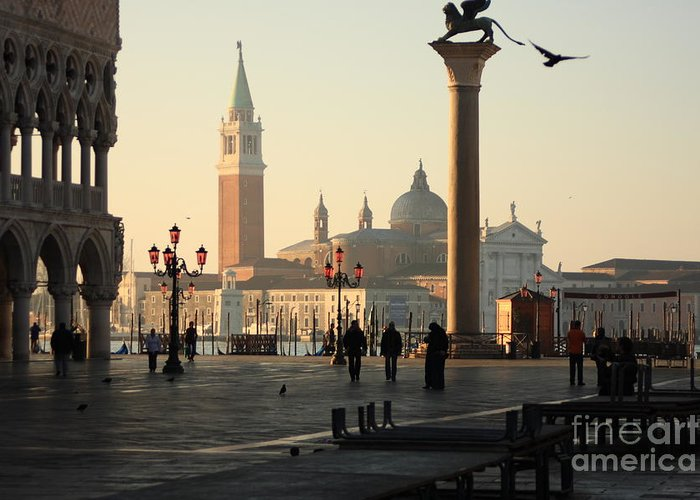 Venice Greeting Card featuring the photograph Piazzetta San Marco In Venice In The Morning by Michael Henderson