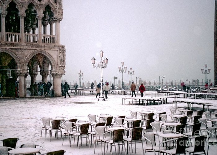 Venice Greeting Card featuring the photograph Piazzetta San Marco In Venice In The Snow by Michael Henderson