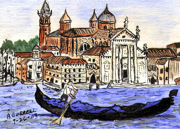 Piazzo San Marco Greeting Card featuring the painting Piazzo San Marco Venice Italy by Arlene Wright-Correll