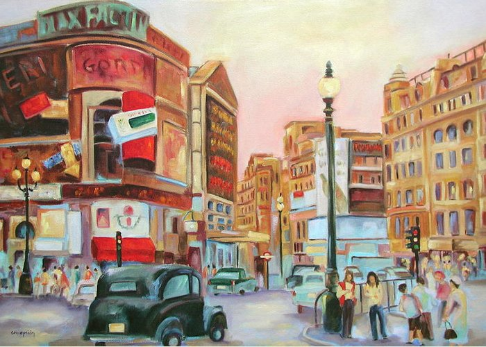Cityscape Greeting Card featuring the painting Picadilly by Ginger Concepcion