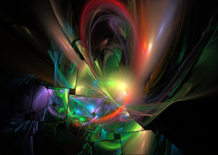 Fantasy Greeting Card featuring the digital art Picassoractal by David Lane