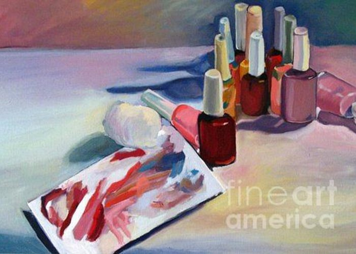 Still Life Greeting Card featuring the painting Pick A Color by Stephanie Allison