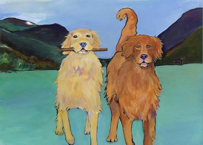 Golden Retrievers Greeting Card featuring the painting Pick-Up Sticks by Pat Saunders-White
