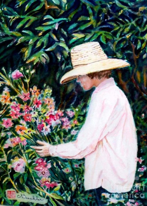 People Greeting Card featuring the painting Picking A Bouquet by Norma Boeckler