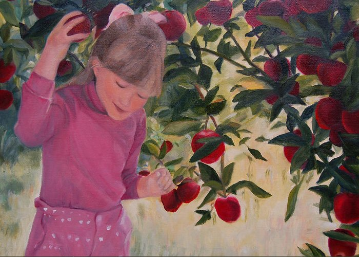 Konkol Greeting Card featuring the painting Picking Apples by Lisa Konkol