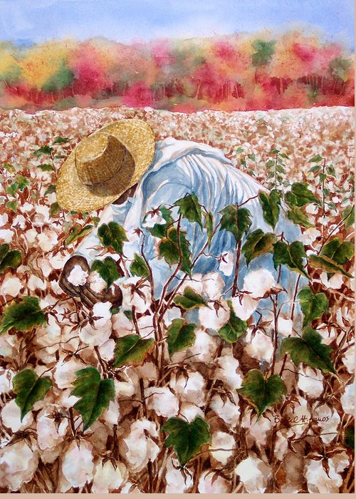 Picking Cotton Greeting Card featuring the painting Picking Cotton by Barbel Amos