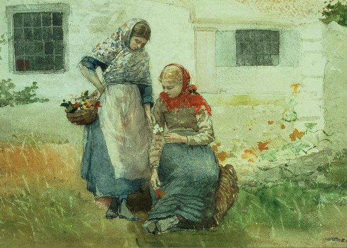 Picking Flowers Greeting Card featuring the painting Picking Flowers by Winslow Homer