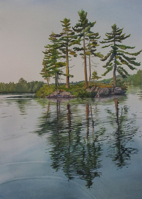 Lake Greeting Card featuring the painting Picnic Island At Dawn by Debbie Homewood