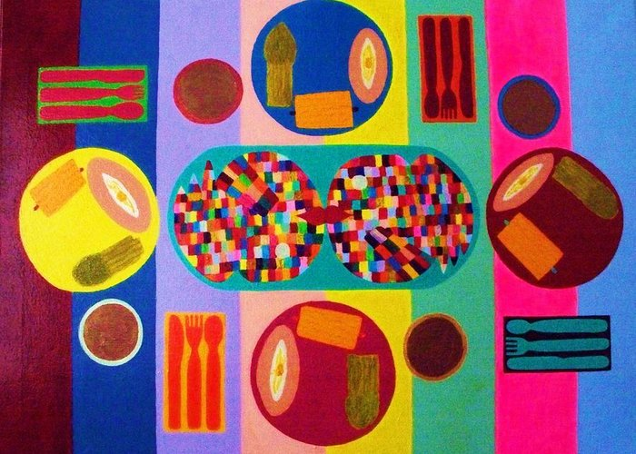Food Greeting Card featuring the painting Picnic Number Two by Ricky Gagnon