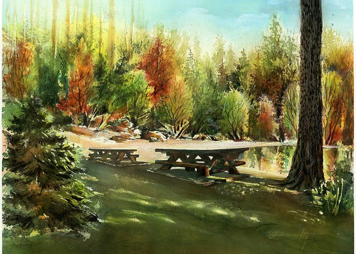 Landscape Greeting Card featuring the painting Picnick Tables by Dumitru Barliga