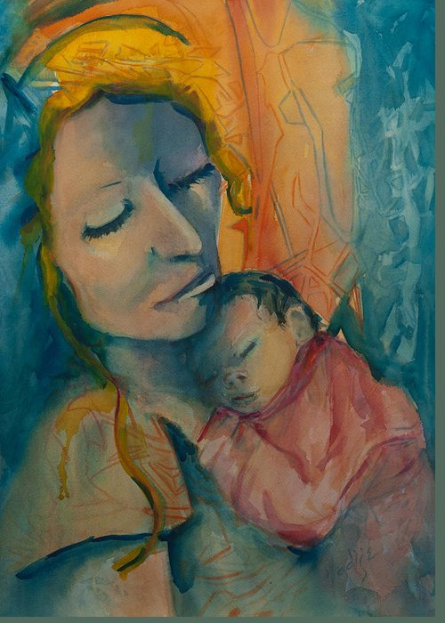 Mother Holding New Born With Love. Greeting Card featuring the painting Picture Of Love by Mary DuCharme