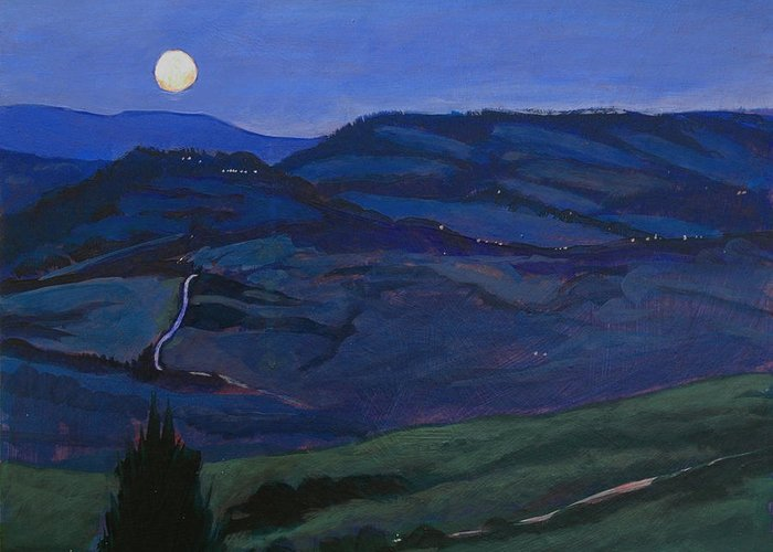 Italy Greeting Card featuring the painting Pienza Moon by Robert Bissett
