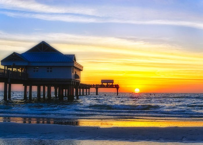 Beach Greeting Card featuring the Pier At Sunset Clearwater Beach Florida by George Oze