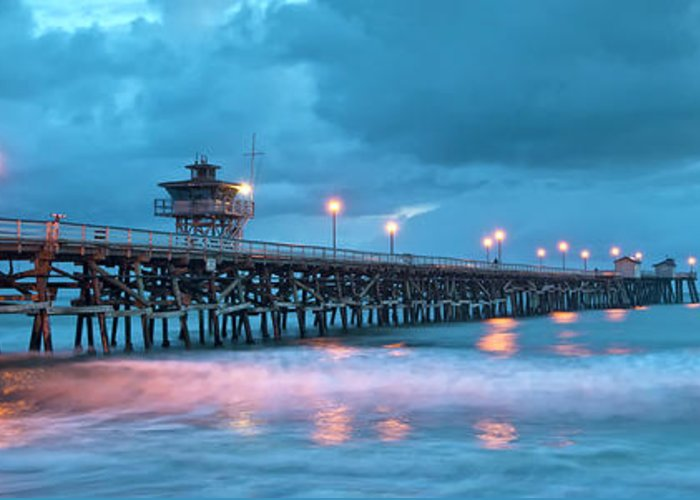 San Clemente Greeting Card featuring the photograph Pier In Blue Panorama by Gary Zuercher