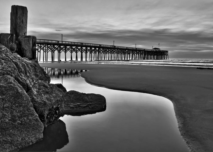 Pawleys Island Photographs Greeting Card featuring the photograph Pier Reflections by Ginny Horton