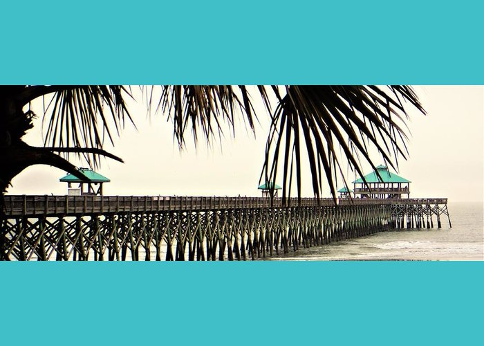 Beach Greeting Card featuring the photograph Pier Walk by Jacqueline Whitcomb