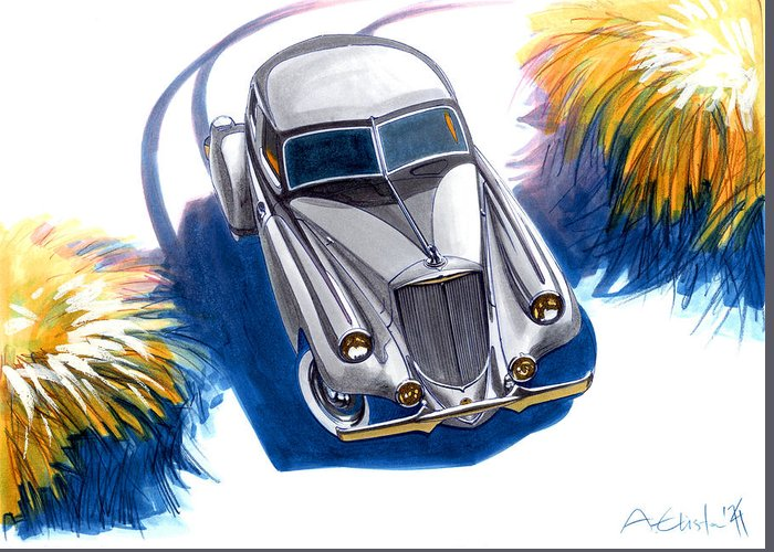Pierce-arrow Greeting Card featuring the drawing Pierce-arrow by Andre Elista