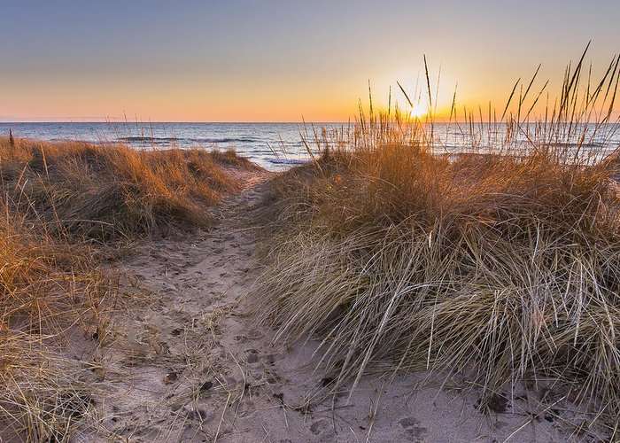 Lake Michigan Greeting Card featuring the photograph Pierport Beach Dunes by Twenty Two North Photography
