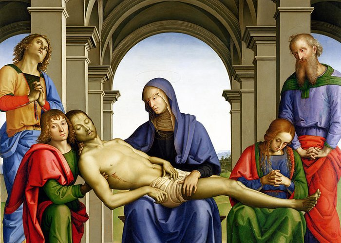 Pieta Greeting Card featuring the painting Pieta by Pietro Perugino