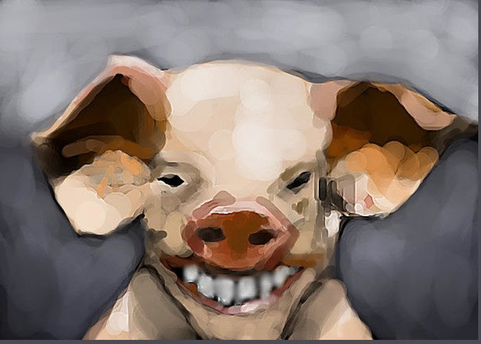 Pig Greeting Card featuring the digital art Pig Human Morphed by Lori Wadleigh