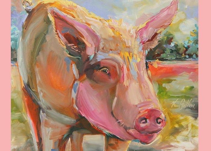 Farm Raised Pigs Paintings Greeting Cards
