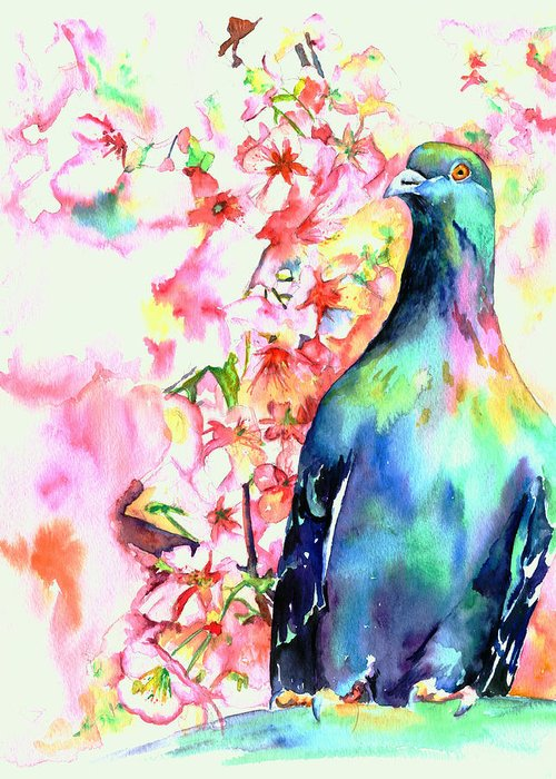 Pigeon Greeting Card featuring the painting Pigeon Eye by Christy Freeman
