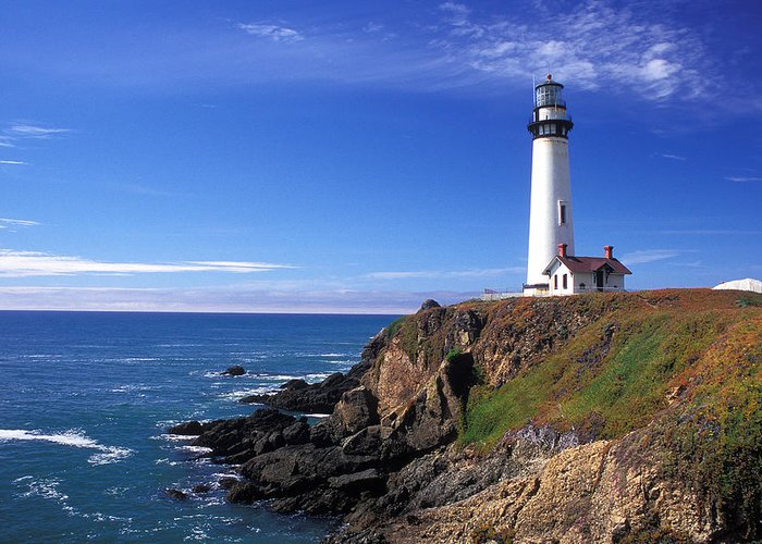 Lighthouses Greeting Card featuring the photograph Pigeon Point Lighthouse 2 by Kathy Yates