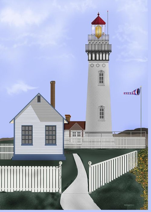 Lighthouse Greeting Card featuring the painting Pigeon Point Lighthouse California by Anne Norskog